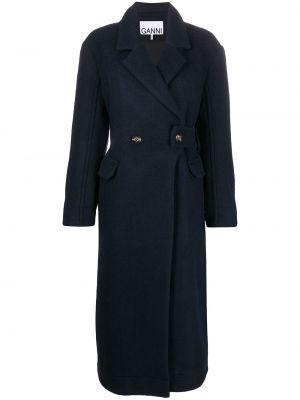 Синее шерстяное длинное пальто двубортное Ganni