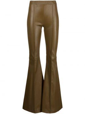 С завышенной талией зеленые кожаные брюки Rosetta Getty