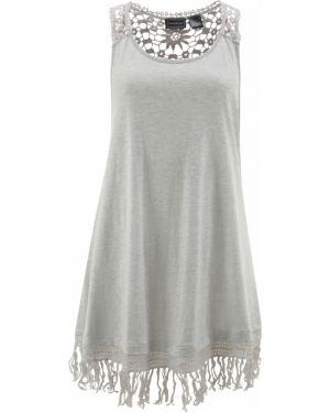 Пляжное платье серое с бахромой Bonprix