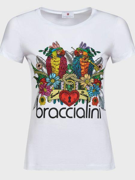Хлопковая белая футболка со стразами Braccialini