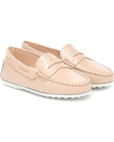 Różowy skórzany loafers Tod's Junior