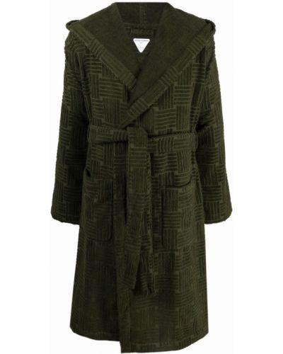 Zielony długi szlafrok bawełniany z kapturem Bottega Veneta