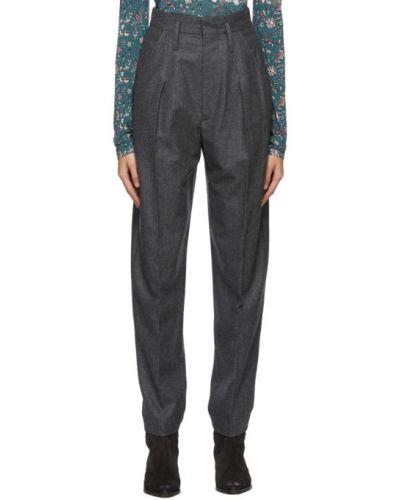 Spodni wełniany spodnie z paskiem Isabel Marant