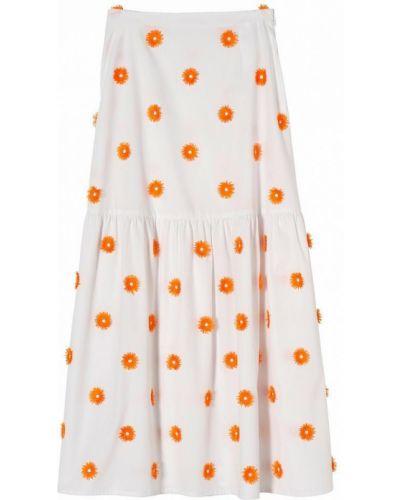 Хлопковая расклешенная белая юбка макси Stefanel