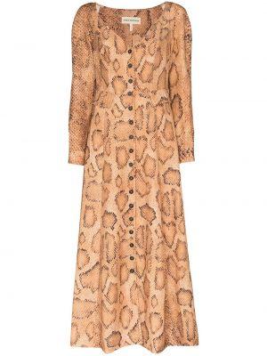 Sukienka wieczorowa z długimi rękawami - brązowa Mara Hoffman