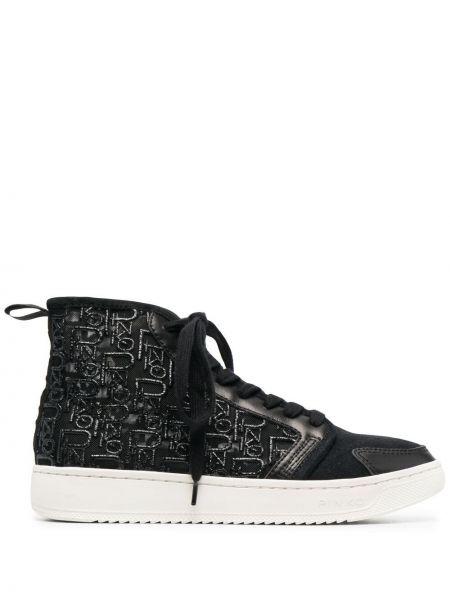 Кожаные черные высокие кеды на шнуровке Pinko