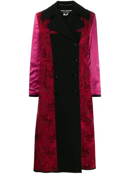 Черное длинное пальто на пуговицах двубортное Junya Watanabe