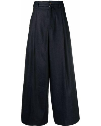 Хлопковые синие брюки свободного кроя SociÉtÉ Anonyme