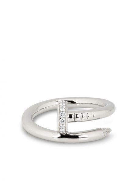 Серебряный золотой браслет с бриллиантом круглый Cartier