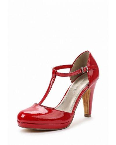 Кожаные туфли с застежкой на лодыжке на каблуке Marco Tozzi