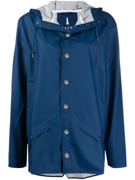 Синяя куртка с капюшоном на кнопках Rains