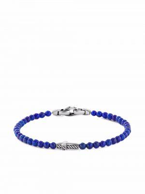 Bransoletka z koralikami srebrna - niebieska David Yurman