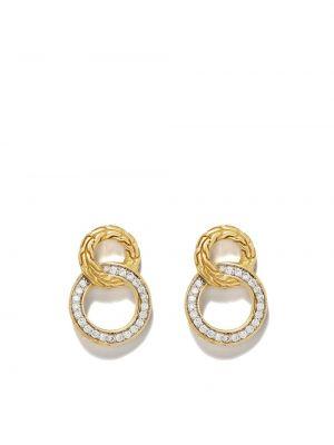 Золотистые желтые серьги-гвоздики с бриллиантом John Hardy