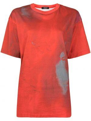 Прямая хлопковая красная футболка Undercover