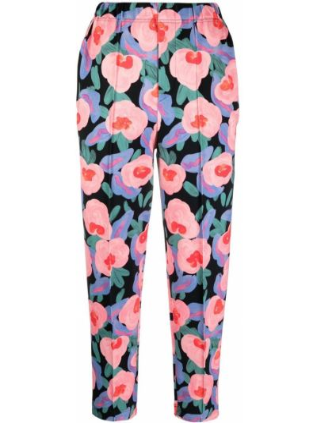 Czarne spodnie w kwiaty z nylonu Issey Miyake