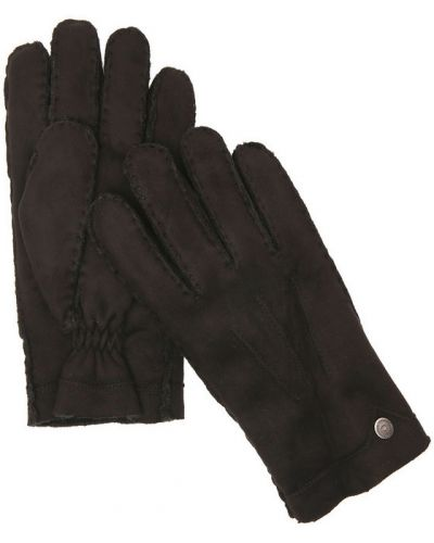 Коричневые кожаные перчатки Bugatti