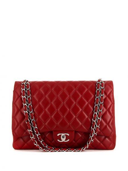 Кожаная красная стеганая сумка на плечо Chanel Pre-owned