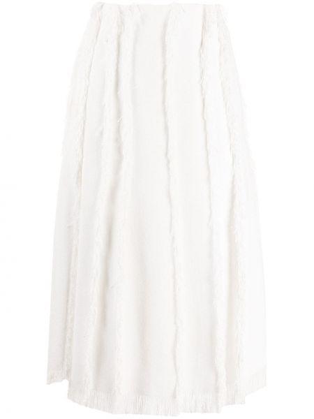 Spódnica midi z wysokim stanem biała Emilio Pucci