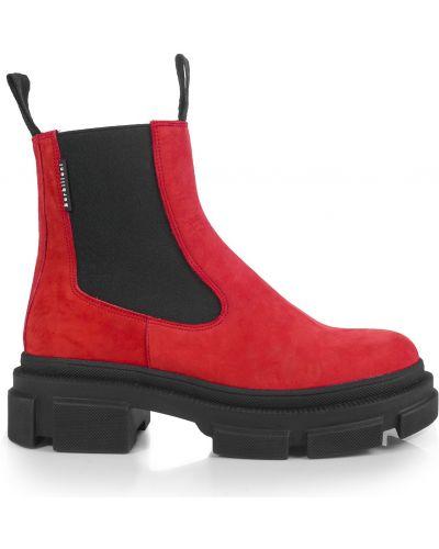 Ботинки из нубука - красные Barbilioni