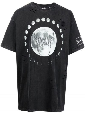 Черная футболка с вырезом Haculla