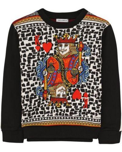 Свитер хлопковый с принтом Dolce & Gabbana