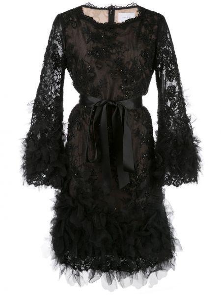 С рукавами шелковое черное платье макси Marchesa