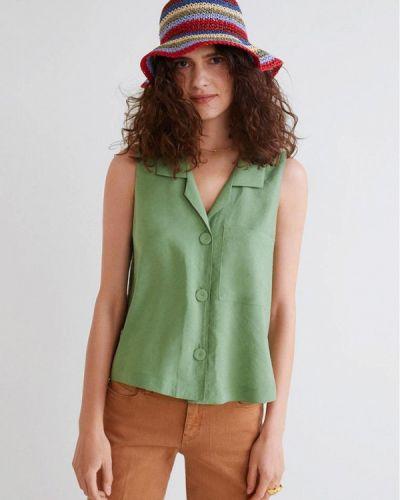 Блузка без рукавов зеленый Mango