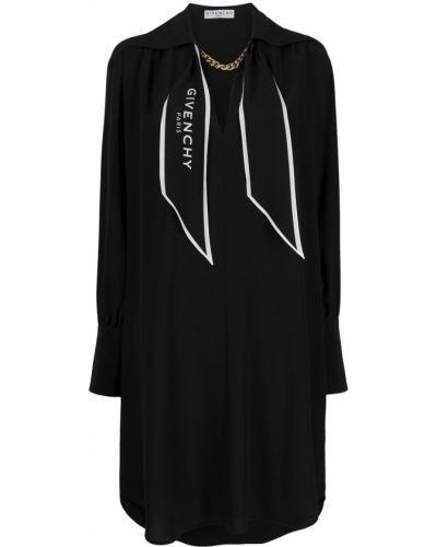 Jedwab czarny długo sukienka z długimi rękawami Givenchy