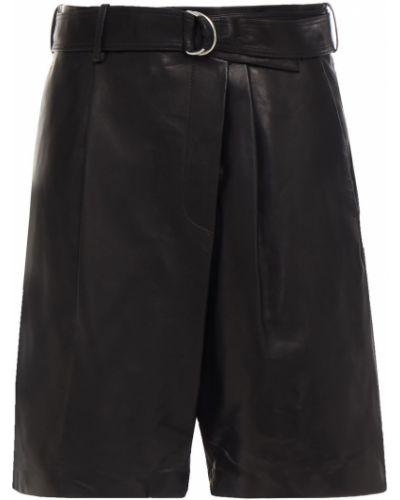 Черные кожаные шорты с карманами Helmut Lang