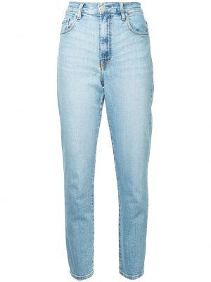 Niebieskie jeansy z wysokim stanem bawełniane Nobody Denim
