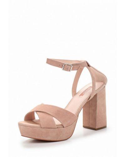 Босоножки на каблуке замшевые розовый Topshop