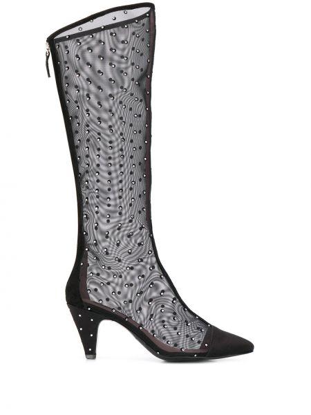 Черные ботинки на каблуке прозрачные на молнии Les Petits Joueurs
