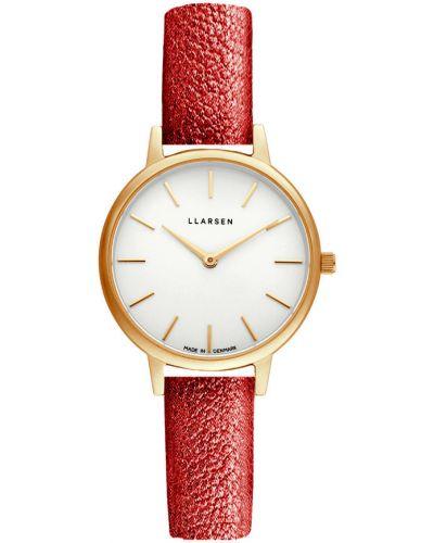 Czerwony złoty zegarek na skórzanym pasku pozłacany Llarsen