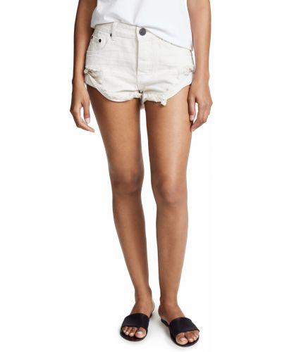 Джинсовые шорты с карманами - белые One Teaspoon