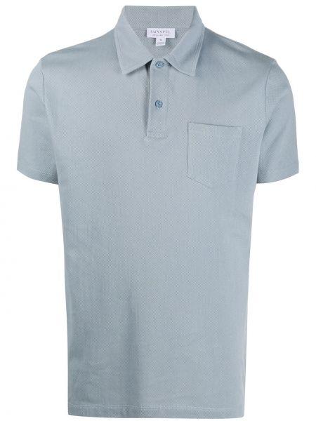 Синяя прямая рубашка с короткими рукавами с воротником на пуговицах Sunspel
