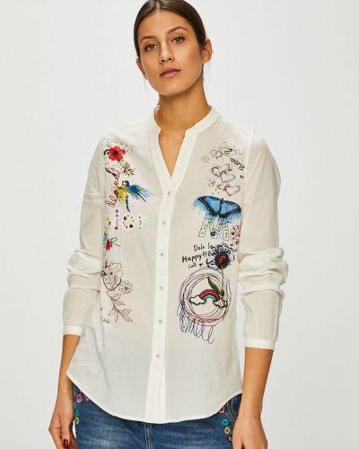 Блузка с длинным рукавом белая прямая Desigual