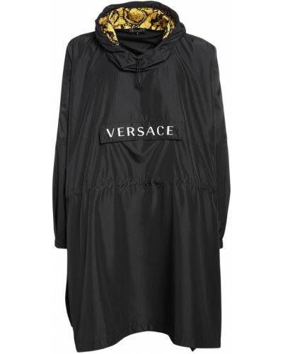 С кулиской черное пончо с капюшоном Versace Underwear
