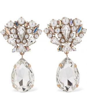 Złote kolczyki sztyfty perły pozłacane Bijoux De Famille