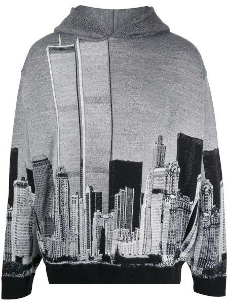 Czarna bluza długa z kapturem z długimi rękawami Buscemi