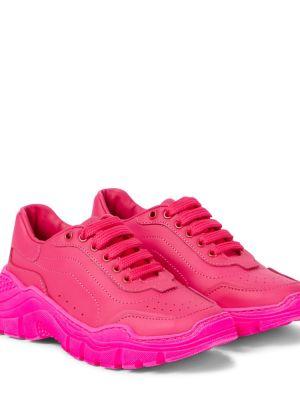 Кожаные кроссовки - розовые Dolce & Gabbana Kids