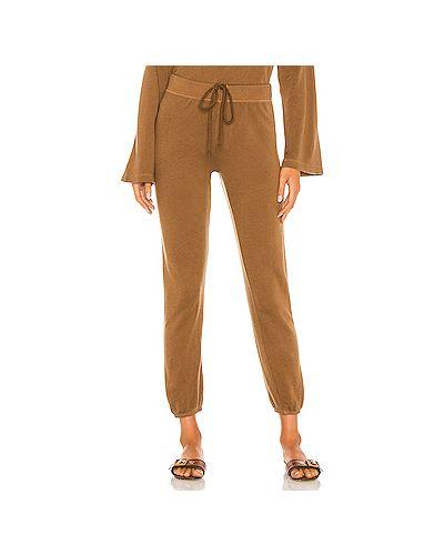 С кулиской шелковые коричневые брюки на резинке эластичные Enza Costa