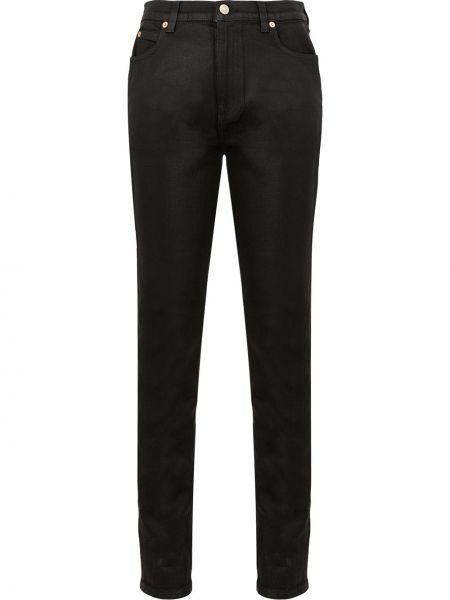 Z wysokim stanem czarny bawełna bawełna spodnie Gucci