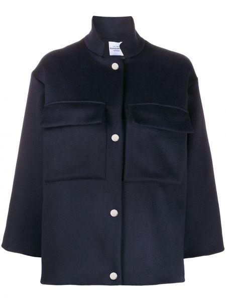 Свободное синее шерстяное длинное пальто Roseanna