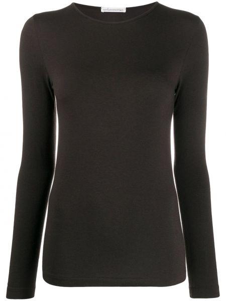 Шерстяная прямая приталенная футболка с круглым вырезом Stefano Mortari
