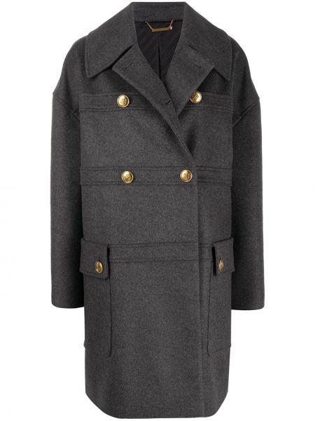 Серое кашемировое пальто классическое с капюшоном Givenchy