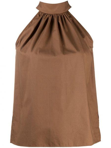 Коричневая блузка без рукавов с вырезом с завязками круглая Jejia