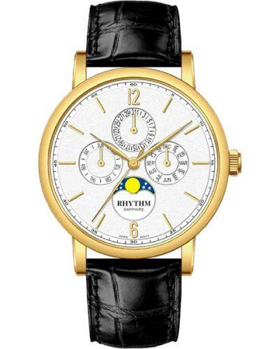 Часы водонепроницаемые с кожаным ремешком белые Rhythm