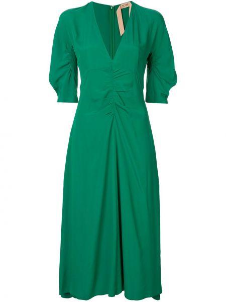 Шелковое расклешенное платье мини с V-образным вырезом на молнии N°21