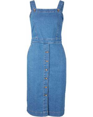 Синее джинсовое платье эластичное Bonprix