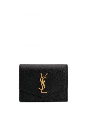 Portfel skórzany z logo złoto Saint Laurent